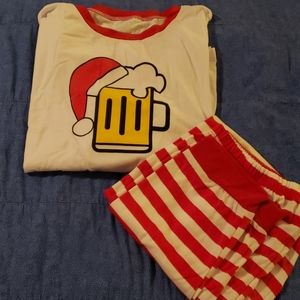PatPat Santa Beer Mug 2 Piece Pajama Set, Men's L